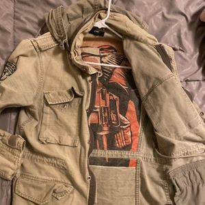 Obey Mens Military Style Jacket - Khaki